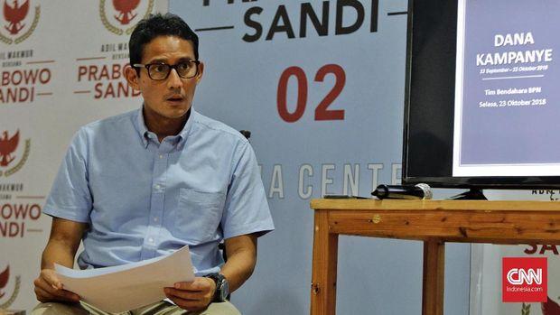 Calon Wakil Presiden pasangan nomor urut 02 Sandiaga Uno.