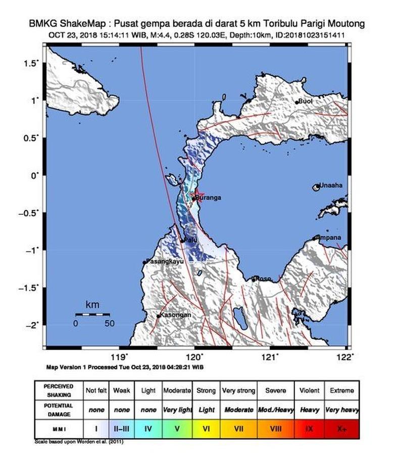 Gempa M 4,4 Terjadi di Parigi Moutong Sulteng