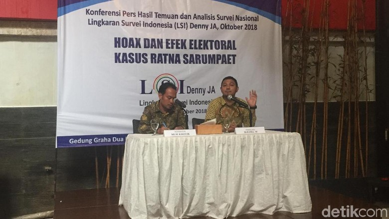 LSI: Pasca-hoax Ratna, Elektabilitas Jokowi 57,7%, Prabowo 28,6%