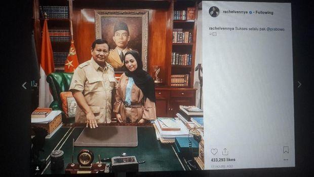 Rachel Vennya dan Prabowo Subianto.