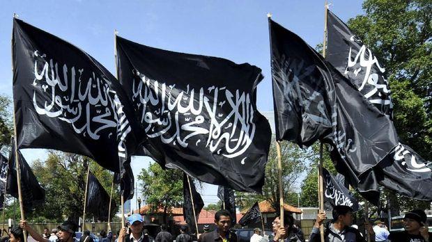 ilustrasi bendera bertuliskan kaliimay tauhid.