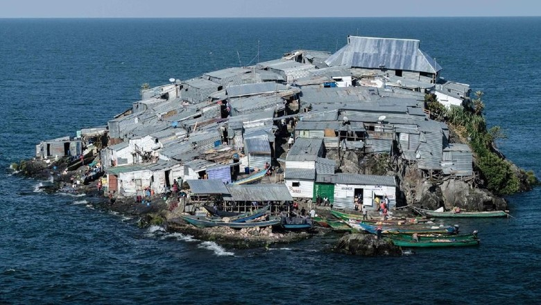 Pulau Migingo, pulau terpadat di Afrika (Yasuyoshi Chiba/AFP/Getty Images)