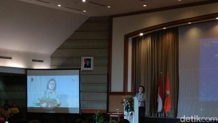 Menkeu Sri Mulyani Indrawati kuliah umum di Unika Atma Jaya/Foto: Trio Hamdani/detikcom