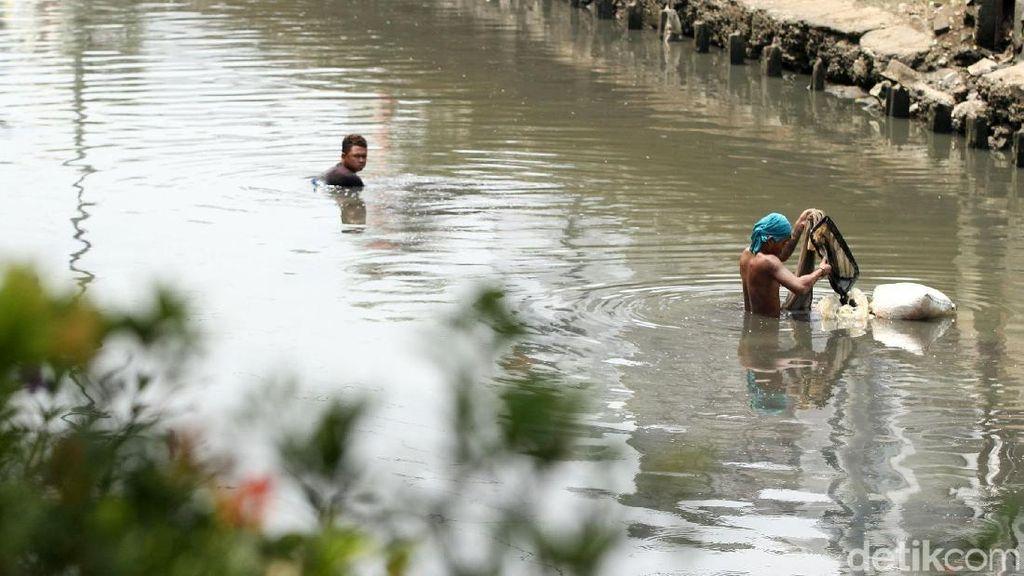 Kisah Para Pencari Cacing Sutra, Memancing Rezeki di Kali Ibukota