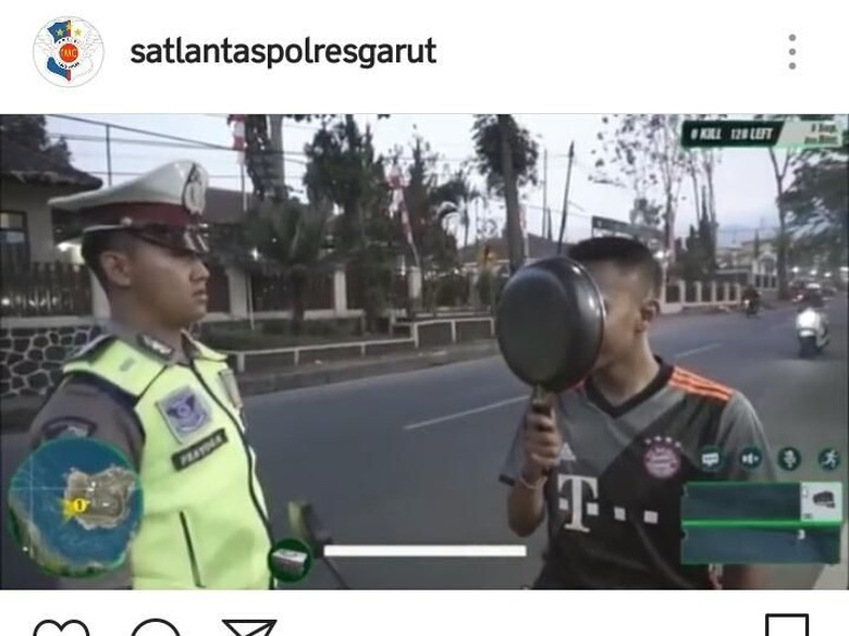 Biker vs Polisi ala Game PUBG Versi Polantas Garut. Foto: Screenshot Instagram