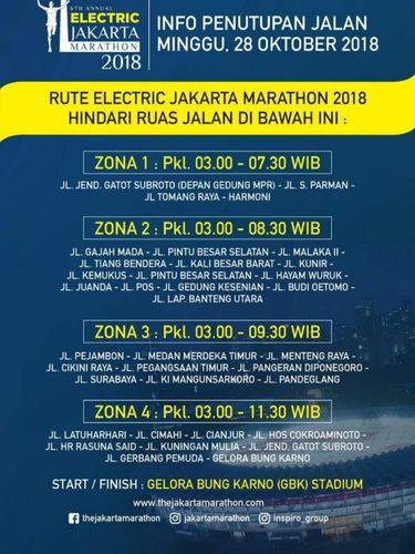 Ruas jalan yang ditutup saat Electric Jakarta Marathon 2018