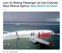 Waspada Hoax, Ini Bukan Foto Lion Air yang Jatuh