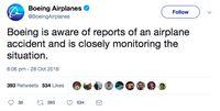 Pesawat Lion Air JT-610 Jatuh, Ini Respons Boeing