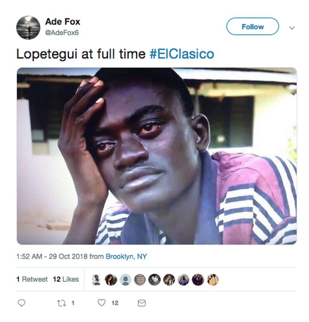 Meme ini menganalogikan ekspresi Lopetegui usai kalah telak di El Clasico. (Foto: Internet/Twitter)