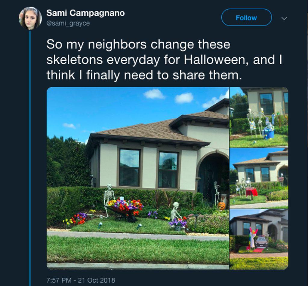 Menyambut Halloween, akun Twitter @sami_grayce berbagi inspirasi dengan menceritakan dekorasi rumah tetangganya yang unik. Foto: Twitter @sami_grayce