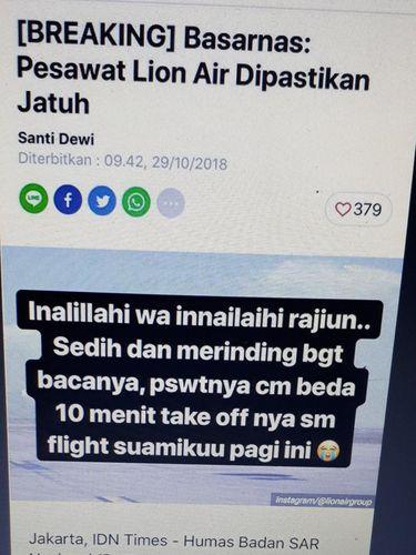 Lion Air Jatuh, Tasya Kamila Merinding