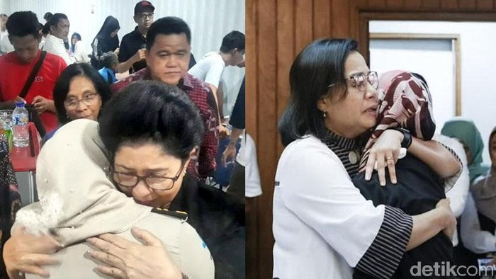 Pelukan hangat para menteri untuk keluaga korban Lion Air JT 610 (Foto: detikHealth)