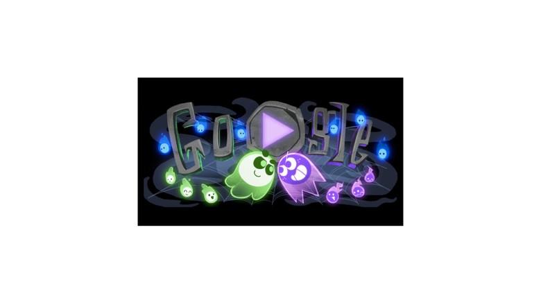 Pada momenHalloween tahun 2018 ini ada gamedoodle multiplayer interaktif pertama dari Google. Kamu bisa bermain jadi tim hijau atau tim ungu, melawan user lain. (Foto: Google.com)