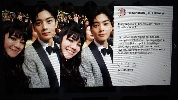 Felicya Angelista dan Cha Eun Woo.