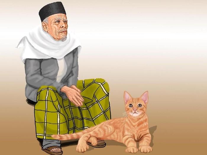 Buya Hamka dan kucingnya