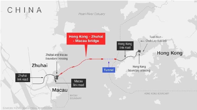 Screenshot Jembatan Hong Kong Zhuhai Macau (Maps4News/CNN Travel)