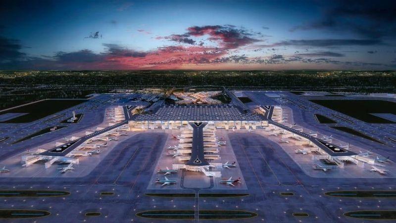 Beginilah bentuk Bandara Istanbul jika telah selesai dibangun nantinya. Bandara ini ditargetkan selesai secara keseluruhan di tahun 2028. (Istanbul New Airport)