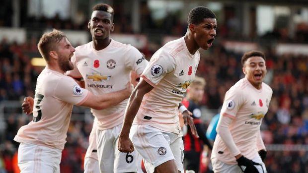 Marcus Rashford antar Manchester United menang 2-1 atas Bournemouth.