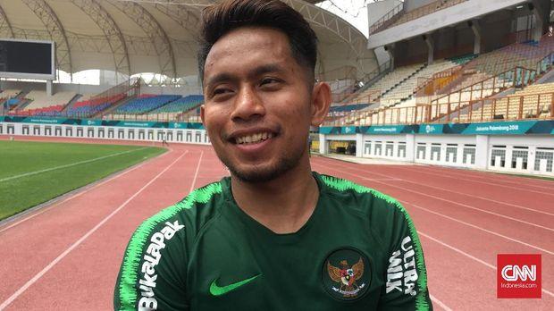 Andik Vermansah saat ditemui pada sesi latihan Timnas Indonesia. (