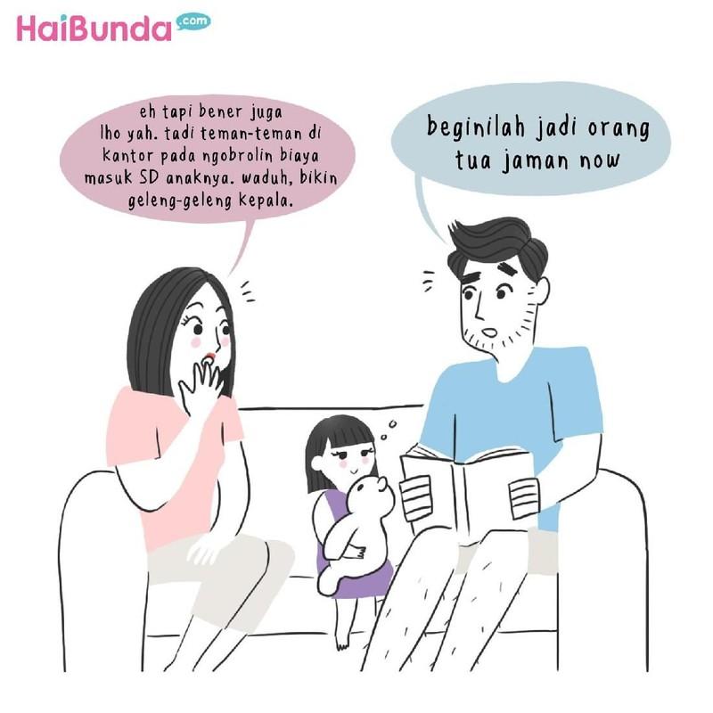 Begini reaksi ayah dan bunda di komik ini saat ngomongin biaya sekolah anak. Kalau reaksi Bunda dan suami gimana saat membicarakan biaya sekolah anak?