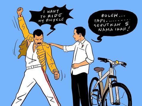 Viral, Ilustrasi Bergaya Freddie Mercury Karya Hari Prast Dijiplak