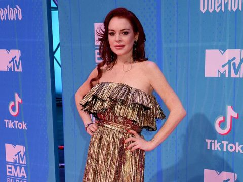 BILBAO, SPAIN - NOVEMBER 04:  Lindsay Lohan attends the MTV EMAs 2018 at the Bilbao Exhibition Centre (BEC) on November 04, 2018 in Bilbao, Spain. (Photo by Dave J Hogan/Dave J Hogan/Getty Images for MTV)