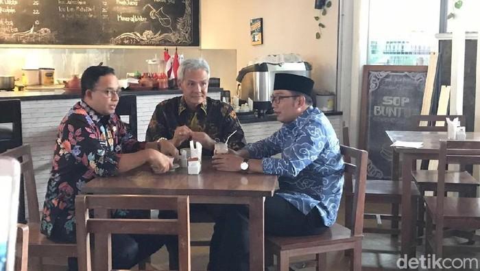 Anies, Ridwan Kamil, Ganjar di Balai Kota DKI (Zhacky/detikcom)