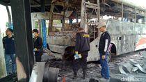 Polisi Olah TKP SPBU yang Terbakar Ditabrak Bus, Ini Hasilnya