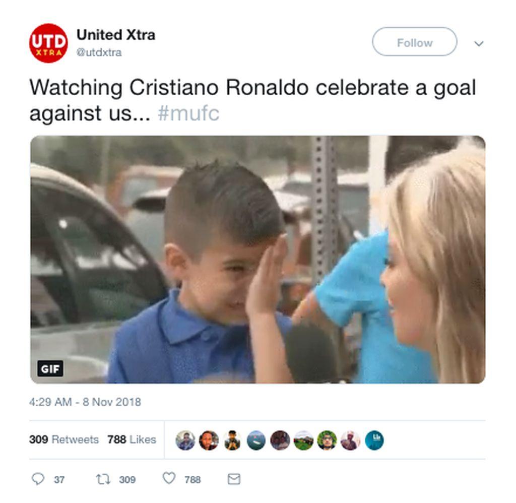 Di Turin, Juventus unggul lebih dulu atas MU. Cristiano Ronaldo, mantan bintang MU dan masih jadi idola fans The Red Devils, jadi pencetak gol itu. (Foto: Internet/Twitter)