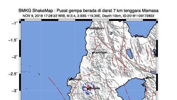 Gempa 3,4 SR Guncang Mamasa Sulbar