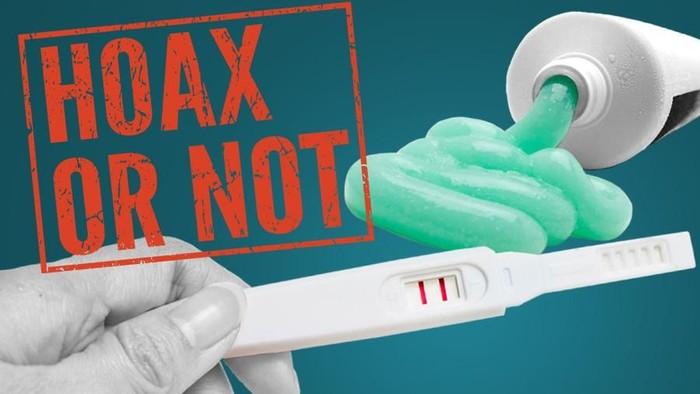 Hoax or Not tes kehamilan dengan pasta gigi? Foto: Infografis