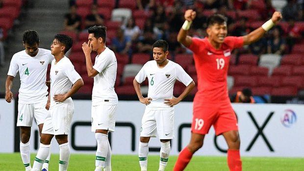 Timnas Indonesia kalah 0-1 dari Singapura di laga pertama Piala AFF 2018.