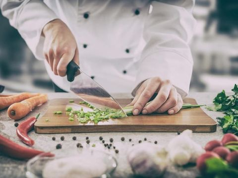 chef cooking food kitchen restaurant cutting cook hands hotel man male knife preparation fresh preparing concept - stock image