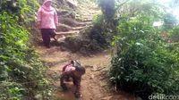 Adul merangkak ke sekolahnya yang berjarak 3 km.