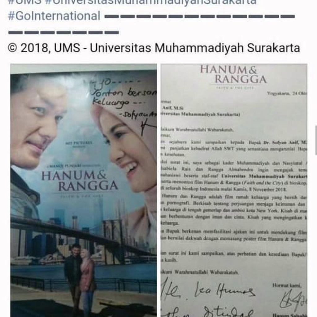 Sempat Viral, Postingan UMS soal Ajakan Nonton Hanum & Rangga Dihapus