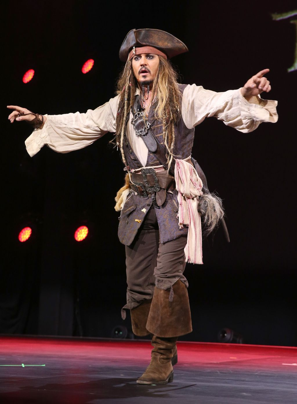 ANAHEIM, CA - AUGUST 15:  Actor Johnny Depp,  dressed as Captain Jack Sparrow, of PIRATES OF THE CARIBBEAN: DEAD MEN TELL NO TALES took part today in