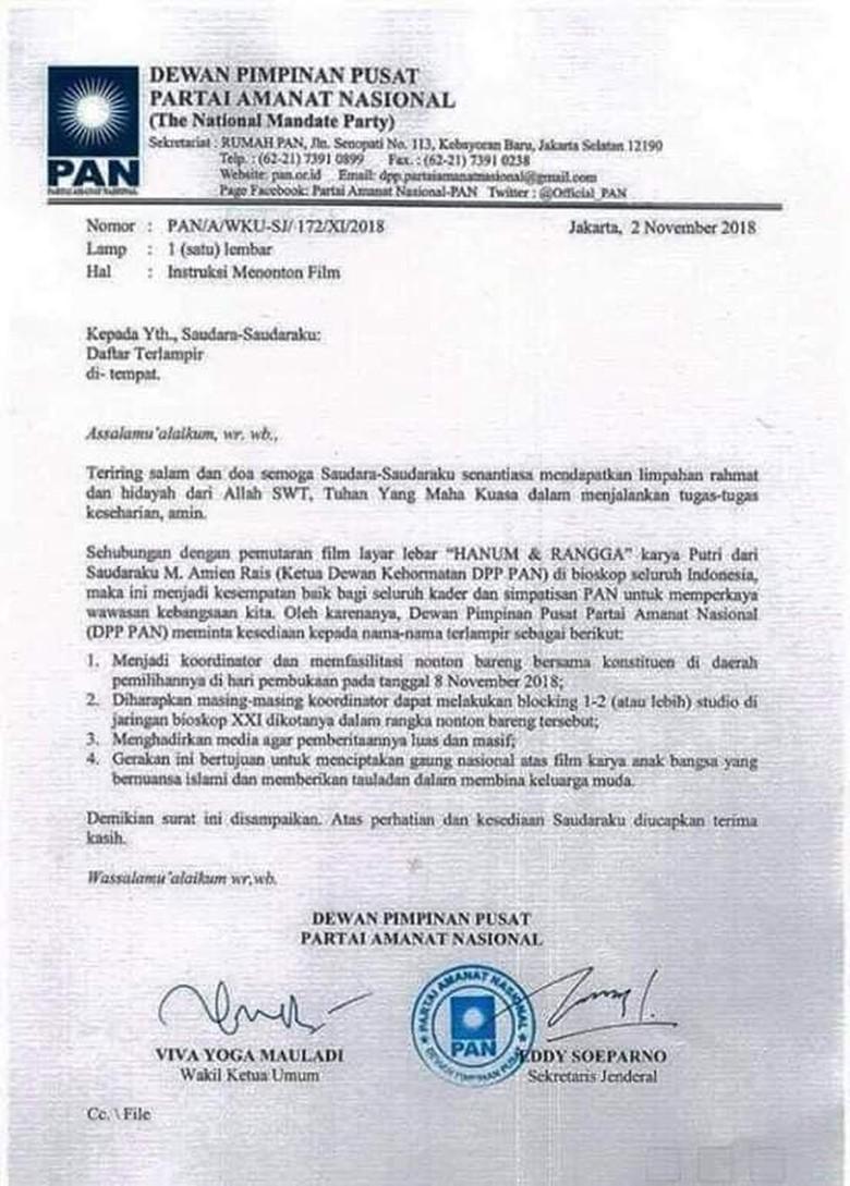 Ini Surat PAN yang Instruksikan Kader Nobar Hanum & Rangga