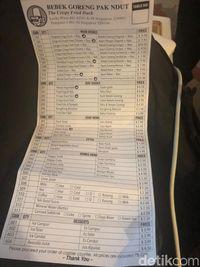 Daftar harga di rumah makan yang disinggahi Jokowi.