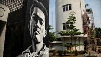 Begini penampakan salah satu mural tokoh pahlawan di kawasan Taman Ismail Marzuki, Jakarta, Selasa (13/11/2018).