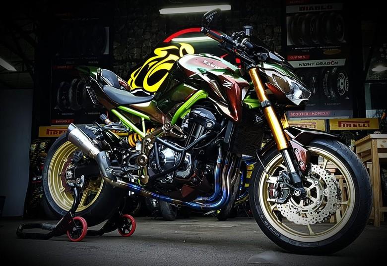 Modifikasi Kawasaki Z900 Mewah Bercat Bunglon, Habiskan Rp 150 Juta! Foto: Dok. Micko