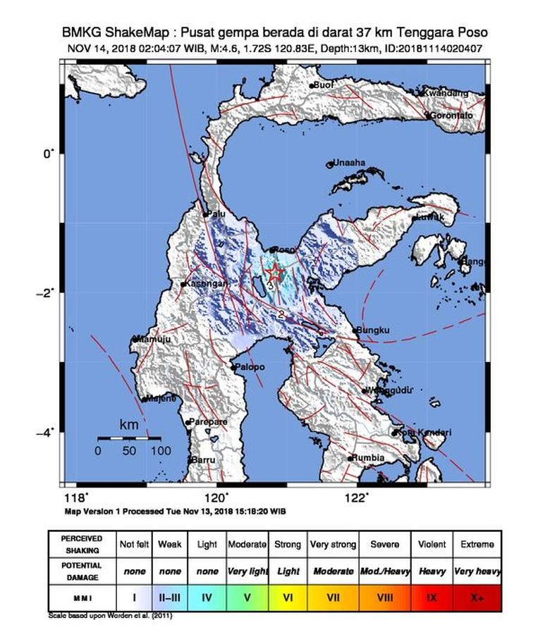 Gempa M 4,6 Dirasakan di Poso