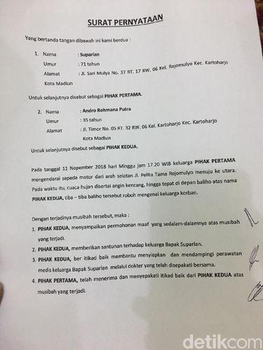 Surat perjanjian caleg PSI dan korban baliho roboh/