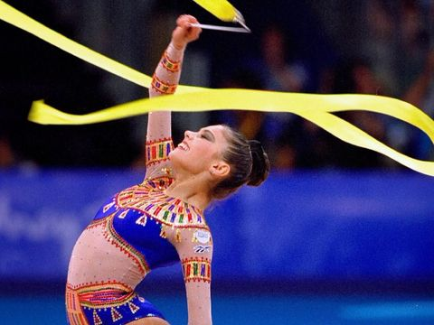 1 Oct 2000:  Alina Kabaeva of Russia on her way to Bronze in the Womens Rhythmic Gymnastics Final at Pavilion 3 on Day 16 of the Sydney 2000 Olympic Games in Sydney, Australia.  Mandatory Credit: Mike Powell /Allsport