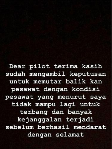Pilot Putuskan Putar Balik, Suami Nina Zatulini Berterima Kasih