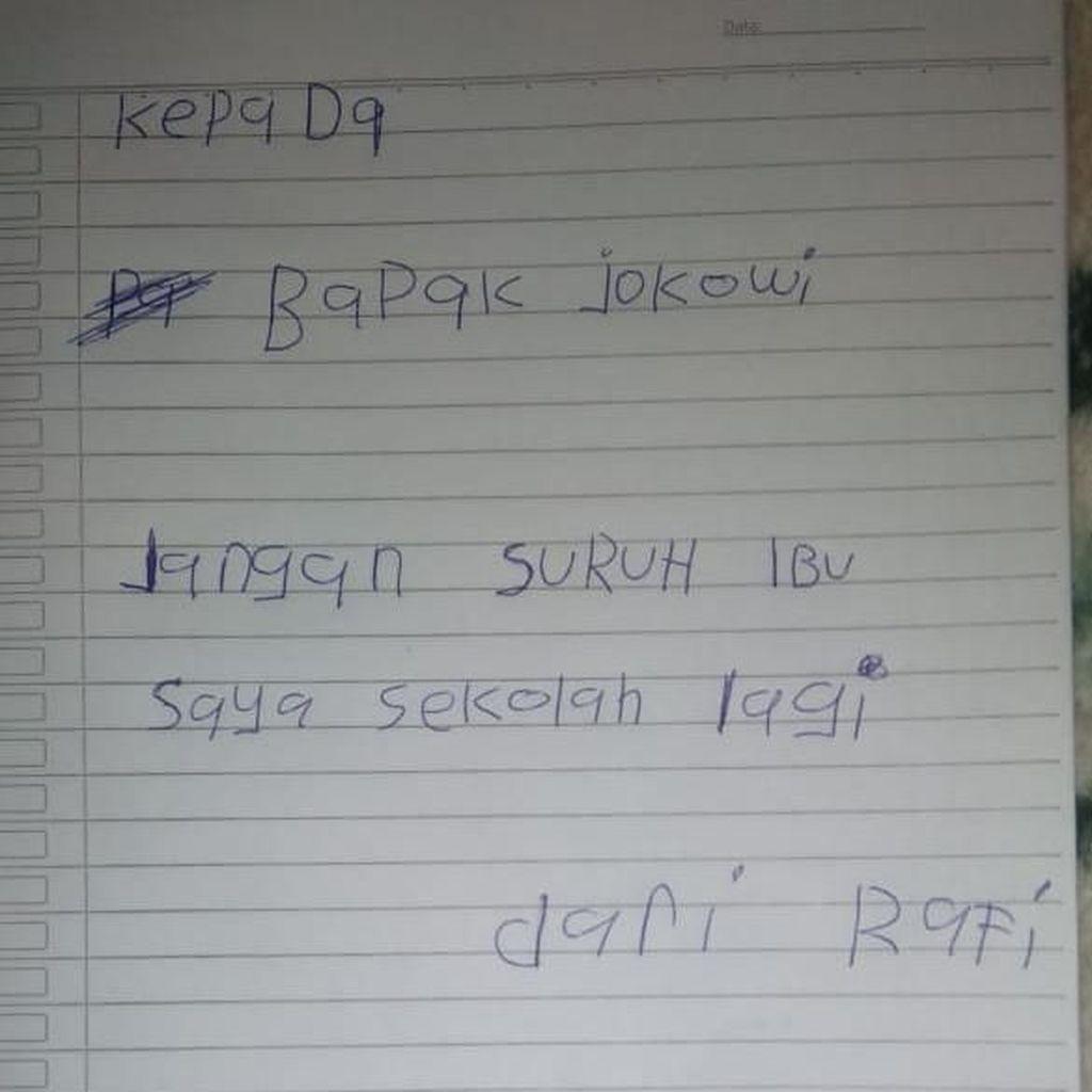 Anak Nuril Tulis Pesan ke Jokowi: Jangan Suruh Ibu Sekolah Lagi