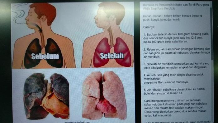 Ramuan berhenti merokok (Foto: viral Facebook)