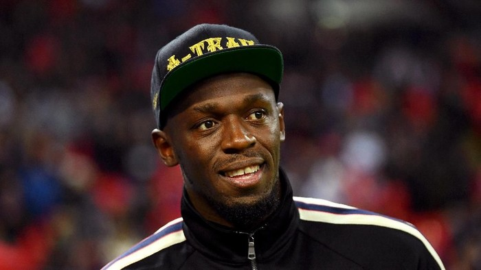 LONDON, ENGLAND - NOVEMBER 15:  Usain Bolt is seen pitchside at half time during the International Friendly match between England and United States at Wembley Stadium on November 15, 2018 in London, United Kingdom.  (Photo by Mike Hewitt/Getty Images)