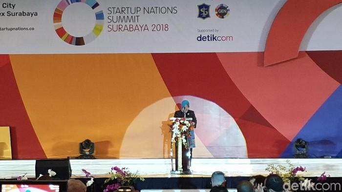Wali Kota Surabaya Tri Rismaharini di Startup Nations Summit (SNS) 2018 (Foto: Adi Fida Rahman/detikINET)