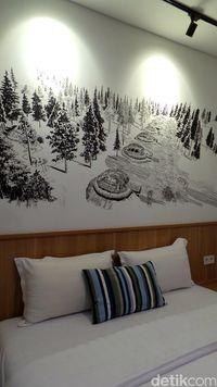 Salah satu mural di kamar hotel (Wahyu/detikTravel)