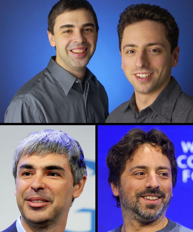 Lebih kece mana ya, pendiri Google Larry Page dan Sergey Brin kala muda atau sekarang ini? (Foto: Bright Side)